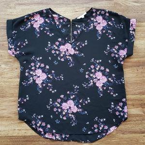 Hippie Rose XL Black Floral Back Zip Top